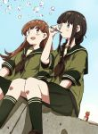 2girls any_(lucky_denver_mint) bangs black_eyes black_hair black_neckwear blunt_bangs braid brown_eyes brown_hair bubble_blowing dutch_angle green_sailor_collar green_serafuku green_skirt highres kantai_collection kitakami_(kantai_collection) long_hair multiple_girls neckerchief ooi_(kantai_collection) pleated_skirt sailor_collar school_uniform serafuku sidelocks single_braid sitting skirt