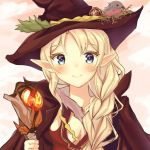 1girl animal bangs bird bird_nest blonde_hair blue_eyes blush braid breasts brown_cape brown_hat closed_mouth commentary dress elf eyebrows_visible_through_hair hair_over_shoulder hat highres holding holding_staff long_hair looking_at_viewer medium_breasts mony original pointy_ears red_dress side_braid smile solo staff witch_hat