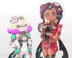 2girls angry armor blush breasts cephalopod_eyes cleavage cosplay crossover crown dark_skin domino_mask dress flat_chest hikari_(xenoblade_2) hikari_(xenoblade_2)_(cosplay) hime_(splatoon) homura_(xenoblade_2) homura_(xenoblade_2)_(cosplay) iida_(splatoon) jewelry long_hair mask mole mole_under_mouth multicolored_hair multiple_girls nintendo octarian pink_pupils short_hair smile splatoon splatoon_2 super_smash_bros. tentacle_hair tiara white_hair xenoblade xenoblade_2 yellow_eyes