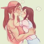 2girls backwards_hat blush brigitte_(overwatch) brown_hair casual closed_eyes d.va_(overwatch) freckles grin hat hug long_hair multiple_girls murasaki-yuri muscle muscular_female musical_note noses_touching overwatch ponytail simple_background smile speech_bubble spoken_musical_note teeth white_background yuri