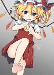 1girl bare_legs bent_knee blonde_hair commentary_request dated dress fang flandre_scarlet hat hat_ribbon highres mob_cap one_leg_raised open_mouth red_eyes red_ribbon ribbon ryannari short_hair short_sleeves signature solo touhou wings yellow_neckwear