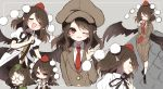 2girls animal_ears bird_wings black_wings brown_hair cabbie_hat closed_eyes closed_mouth forbidden_scrollery futatsuiwa_mamizou glasses grey_background hat leaf leaf_on_head looking_at_viewer multiple_girls multiple_views necktie one_eye_closed open_mouth piyokichi pointy_ears pom_pom_(clothes) puffy_short_sleeves puffy_sleeves raccoon_ears red_eyes red_neckwear shameimaru_aya short_sleeves simple_background smile tokin_hat touhou wings