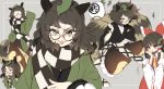 2girls :3 animal_ears ascot bottle bow brown_eyes brown_hair brown_skirt checkered checkered_scarf detached_sleeves futatsuiwa_mamizou glasses grey_background hair_bow hakurei_reimu japanese_clothes leaf leaf_on_head long_hair looking_at_viewer multiple_girls multiple_views piyokichi raccoon_ears raccoon_tail red_bow red_skirt sake_bottle scarf sidelocks simple_background sitting skirt smile tail touhou yellow_neckwear