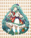 1girl aqua_eyes aqua_hair argyle argyle_background bangs bell beret bow bowtie box capelet dress earmuffs fur_trim gift gift_box gloves green_bow hair_ornament hair_ribbon hand_on_own_chest hat hatsune_miku highres iritoa legs_crossed long_hair looking_at_viewer mini_hat open_mouth pinecone ribbon round_teeth smile solo star teeth thigh-highs twintails very_long_hair vocaloid white_gloves white_legwear