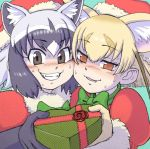 2girls animal_ears aqua_background bangs black_gloves black_hair blonde_hair blush bow bowtie brown_eyes cheek-to-cheek cheek_squash common_raccoon_(kemono_friends) eyebrows eyebrows_visible_through_hair eyelashes facing_another fennec_(kemono_friends) fox_ears fur_collar fur_trim gift gloves green_bow green_neckwear grin hair_between_eyes hat heart holding japari_symbol kemono_friends kouson_q looking_at_viewer multicolored_hair multiple_girls nose_blush open_mouth orange_eyes puffy_sleeves raccoon_ears red_hat santa_costume santa_hat short_hair silver_hair simple_background smile sweat teeth tsurime upper_body white_hair
