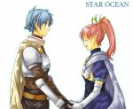 1boy 1girl blue_eyes blue_hair breasts gloves long_hair millie_chliette open_mouth pink_hair pointy_ears ponytail roddick_farrence short_hair smile star_ocean star_ocean_first_departure
