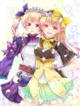 2girls :d atelier_(series) atelier_lydie_&_suelle belt black_capelet bow capelet cowboy_shot frilled_hairband green_skirt hair_bow hairband hand_on_hip long_hair looking_at_viewer lydie_marlen multiple_girls open_mouth petals pink_hair purple_bow red_eyes short_hair siblings side_ponytail sisters siyusiyu13 skirt smile suelle_marlen twins violet_eyes yellow_bow