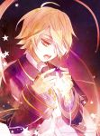 1boy artist_name bandage bandage_over_one_eye black_background blonde_hair coat commentary_request expressionless lancha looking_down male_focus oliver_(vocaloid) open_mouth ribbon sailor_collar shirt short_hair simple_background sky star star_(sky) starry_background starry_sky text vocaloid white_shirt yellow_eyes