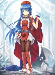 1girl armlet axe bangs belt blue_eyes blue_hair blurry blurry_background boots bracelet brown_legwear cape cropped_vest eyebrows_visible_through_hair fire_emblem fire_emblem:_fuuin_no_tsurugi fire_emblem_heroes full_body highres hinot holding holding_weapon jewelry knee_boots lilina looking_at_viewer nintendo pantyhose pigeon-toed standing weapon