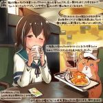 1girl animal brown_eyes brown_hair cellphone colored_pencil_(medium) commentary_request cup dated food fubuki_(kantai_collection) green_sailor_collar hair_between_eyes hamster holding holding_cup kantai_collection kirisawa_juuzou long_sleeves non-human_admiral_(kantai_collection) numbered one_eye_closed pancake phone sailor_collar school_uniform serafuku short_hair short_ponytail short_sleeves smartphone smartphone_case traditional_media translation_request twitter_username