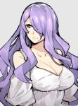 1girl alternate_costume bare_shoulders breasts camilla_(fire_emblem_if) cleavage closed_mouth collarbone dress fire_emblem fire_emblem_if gebyy-terar grey_background grey_dress hair_over_one_eye large_breasts lips long_hair looking_to_the_side purple_hair shiny shiny_hair shoulder_cutout simple_background smile solo upper_body very_long_hair violet_eyes wavy_hair