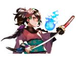 1girl 92m black_hair brown_eyes floral_print flower hair_flower hair_ornament hitodama japanese_clothes looking_at_viewer momohime oboro_muramasa sheath short_hair simple_background solo sword twintails unsheathing weapon