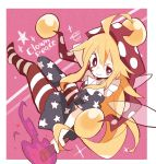 1girl 3: ahoge american_flag american_flag_dress american_flag_legwear american_flag_print bangs bare_arms blonde_hair border bright_pupils character_name closed_mouth clownpiece dress facing_away fairy fairy_wings fire flag_print full_body full_moon hair_between_eyes hat highres holding horizontal-striped_legwear horizontal_stripes jester_cap long_hair looking_away mononomo616 moon multicolored multicolored_clothes multicolored_dress multicolored_legwear neck_ruff pantyhose polka_dot polka_dot_hat purple_fire red_eyes red_hat short_sleeves solo sparkle squiggle star star-shaped_pupils star_(sky) striped symbol-shaped_pupils torch touhou typo uneven_eyes very_long_hair white_border white_pupils wings