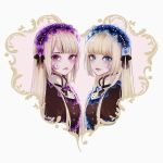 2girls bangs blonde_hair blue_eyes blunt_bangs commentary dress frills gothic_lolita headdress highres hortense lips lolita_fashion long_hair looking_at_viewer magako multiple_girls roman siblings sisters sound_horizon twins violet_eyes violette