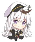 1girl animal animal_on_head azur_lane bangs bird bird_on_head black_coat black_legwear black_neckwear black_skirt blush chibi closed_mouth coat collared_shirt eagle enterprise_(azur_lane) eyebrows_visible_through_hair full_body hair_between_eyes hat hitsukuya long_hair long_sleeves looking_at_viewer military_hat necktie on_head open_clothes open_coat peaked_cap pleated_skirt shirt silver_hair simple_background skirt sleeveless sleeveless_shirt smile solo standing thigh-highs v-shaped_eyebrows very_long_hair violet_eyes white_background white_hat white_shirt