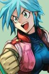 1girl :d allenby_beardsley bangs blue_hair blue_shirt brown_gloves clenched_hand g_gundam gloves green_background green_eyes gundam hankuri jacket jewelry looking_at_viewer necklace open_clothes open_jacket open_mouth pink_jacket shirt short_hair simple_background smile solo upper_body
