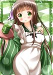 1girl :o ama_usa_an_uniform bangs blunt_bangs breasts brown_hair commentary_request cowboy_shot cup flying_sweatdrops gochuumon_wa_usagi_desu_ka? green_background green_eyes green_kimono green_tea highres holding holding_tray japanese_clothes kimono long_hair long_sleeves medium_breasts polka_dot_trim solo striped striped_kimono tea tray ujimatsu_chiya wide_sleeves yunomi zenon_(for_achieve)