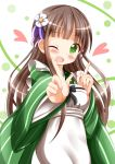 1girl ;d ama_usa_an_uniform bangs blunt_bangs blush breasts brown_hair commentary_request eyebrows_visible_through_hair gochuumon_wa_usagi_desu_ka? green_background green_eyes green_kimono heart highres index_finger_raised japanese_clothes kimono koi_dance long_hair long_sleeves looking_at_viewer one_eye_closed open_mouth polka_dot_trim small_breasts smile solo striped striped_kimono ujimatsu_chiya wide_sleeves zenon_(for_achieve)