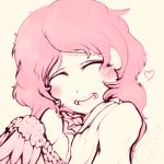 1girl :d blush closed_eyes drawfag facing_viewer harpy heart messy_hair monster_girl open_mouth original pink_hair smile solo