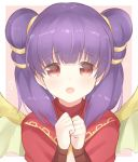 1girl fire_emblem fire_emblem:_seima_no_kouseki looking_at_viewer myrrh portrait purple_hair red_eyes simple_background smile solo twintails
