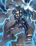 1boy armor armored_boots blonde_hair blue_eyes boots cardfight!!_vanguard clouds cloudy_sky company_name electricity gloves hammer helmet leaping_knight_ligan_lumna male_focus official_art open_mouth sky teeth