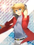 1boy belt blonde_hair blue_eyes card cardfight!!_vanguard cardfight!!_vanguard_g hesocha jewelry male_focus mitsusada_kenji necklace open_mouth solo sparkle star upper_body