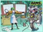 1girl arms_(game) blueprint commentary_request dr._coyle green_hair hedlok highres ishikawa_masaaki labcoat laboratory logo mechanical_arm monitor nintendo official_art pointing robot slime the_cell
