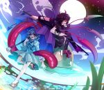 2girls animal asuku_(69-1-31) asymmetrical_wings black_dress black_hair black_legwear blue_eyes blue_hair blue_skirt blue_vest blue_wings dress flying full_moon geta highres holding holding_weapon houjuu_nue karakasa_obake leg_up long_hair long_sleeves long_tongue moon multiple_girls one-eyed outdoors polearm puffy_long_sleeves puffy_sleeves purple_umbrella red_eyes red_wings shirt short_hair short_sleeves skirt sky snake standing standing_on_one_leg star_(sky) starry_sky tatara_kogasa thigh-highs tongue tongue_out touhou trident ufo umbrella vest weapon white_shirt wings zettai_ryouiki