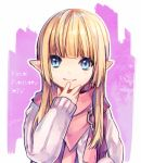 1girl blonde_hair blue_eyes final_fantasy final_fantasy_xiv hand_to_own_face lalafell long_hair pink_scarf pink_sweater pointy_ears scarf shiraume_(hakubaian) smile solo sweater upper_body