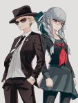 1boy 1girl artist_request black_legwear braid danganronpa grey_hair hair_ribbon hat highres kuzuryuu_fuyuhiko long_hair long_sleeves necktie pantyhose pekoyama_peko pleated_skirt red_eyes ribbon school_uniform serafuku skirt sunglasses super_danganronpa_2 twin_braids