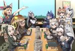 6+girls animal_ears anteater_ears arm_up bandaid bandaid_on_nose bear_ears black_gloves black_hair black_neckwear blonde_hair blue_legwear blue_skirt bow bowtie breasts brown_coat brown_eyes brown_hair buttons chair cleavage coat collared_shirt cup dire_wolf_(kemono_friends) donburi eating elbow_gloves employee_uniform eurasian_eagle_owl_(kemono_friends) eyebrows_visible_through_hair fang fingerless_gloves food food_on_face fur_collar fur_trim giant_anteater_(kemono_friends) gloves green_eyes grey_coat grey_hair grizzly_bear_(kemono_friends) haegiwa_gonbee hair_between_eyes hat head_wings highres holding holding_chopsticks holding_staff holding_tray indoors japari_symbol kemono_friends king_cobra_(kemono_friends) long_hair long_sleeves looking_at_another meal_tickets menu miniskirt multicolored_hair multiple_girls nakau necktie northern_white-faced_owl_(kemono_friends) open_mouth plaid_sleeves pleated_skirt print_neckwear ratel_(kemono_friends) restaurant rice rice_on_face saltwater_crocodile_(kemono_friends) sandstar serval_(kemono_friends) serval_ears serval_print shirt short_hair sitting skirt smile staff sweatdrop table thigh-highs tray uniform very_long_hair white_gloves window wolf_ears wolverine_(kemono_friends) yellow_eyes yellow_gloves yunomi