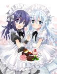 2girls :d :o akatsuki_(kantai_collection) apron bangs black_dress blue_eyes blue_hair blush commentary_request cupcake doily dress eyebrows_visible_through_hair food hair_between_eyes hands_together heart heart_background hibiki_(kantai_collection) highres hizuki_yayoi holding holding_plate interlocked_fingers kantai_collection long_hair looking_at_viewer maid_headdress multiple_girls open_mouth parted_lips plate puffy_short_sleeves puffy_sleeves purple_hair short_sleeves smile sweets very_long_hair violet_eyes white_dress wrist_cuffs