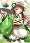 1girl ;) apron bangs blunt_bangs breasts brown_hair closed_mouth commentary_request food gochuumon_wa_usagi_desu_ka? green_eyes green_kimono green_skirt highres holding holding_tray ice_cream japanese_clothes kimono kimono_skirt large_breasts long_hair long_sleeves maid_apron one_eye_closed plant pocky skirt smile solo tray ujimatsu_chiya vines wa_maid white_apron wide_sleeves zenon_(for_achieve)
