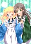2girls :d ;d alice_cartelet ama_usa_an_uniform apron aqua_background blonde_hair blue_eyes blue_kimono blush breasts brown_hair commentary_request cowboy_shot crossover flat_chest gochuumon_wa_usagi_desu_ka? green_eyes green_kimono hand_on_another's_shoulder highres japanese_clothes kimono kin-iro_mosaic long_hair long_sleeves maid_apron medium_breasts multiple_girls one_eye_closed open_mouth polka_dot_trim smile striped striped_kimono twintails ujimatsu_chiya vertical-striped_background vertical_stripes white_apron wide_sleeves zenon_(for_achieve)