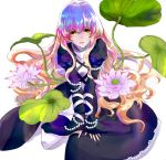1girl beads blonde_hair blue_hair brown_hair dress flower gradient_hair hijiri_byakuren layered_dress lily-an lily_(flower) lily_pad looking_at_viewer multicolored_hair purple_hair solo touhou white_background yellow_eyes