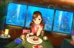 1girl aquarium artist_request bag bracelet breasts brown_hair cake candle chocolate chocolate_cake chocolate_heart cleavage cup dessert dish dress drinking_glass etou_misaki_(idolmaster) fish fish_tank food gift glass green_eyes happy_valentine heart ice_cream idolmaster idolmaster_cinderella_girls idolmaster_cinderella_girls_starlight_stage jewelry jpeg_artifacts light_smile long_hair looking_at_viewer medium_breasts necklace official_art paper_bag pearl_necklace plate sitting solo table valentine watch watch wavy_hair wine_glass
