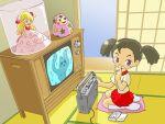 daruma daruma_doll doll ghost original shh shushing tape_recorder tatami television twintails