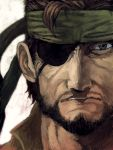 beard big_boss blue_eyes eyepatch facial_hair lack metal_gear_solid solid_snake