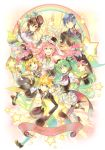 2boys 4girls dress hair_ribbon hat hatsune_miku highres kagamine_len kagamine_rin kaito megurine_luka meiko multiple_boys multiple_girls osamu_(jagabata) rainbow ribbon star top_hat vocaloid