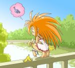 barefoot bi-nyo bridge escaped food fruit holding holding_fruit orange_hair original river shackle spoken_animal spoken_food wrist_cuffs