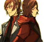 back_to_back brown_hair glasses hoodie male necktie persona persona_2 short_hair sudachips suou_katsuya suou_tatsuya