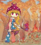 1girl :d american_flag_dress american_flag_legwear autumn_leaves blonde_hair clownpiece commentary_request eyebrows_visible_through_hair fairy_wings fire forest hat holding jester_cap leaf long_hair nature open_mouth sasa_kichi short_sleeves smile solo standing torch touhou triangle_mouth very_long_hair violet_eyes wings