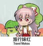1girl chinese commentary_request cowboy_shot english eyebrows_visible_through_hair frog fujiwara_no_mokou green_hat grey_background hat holding holding_leaf leaf leaf_umbrella long_hair looking_at_another lowres mushroom pants puffy_short_sleeves puffy_sleeves rain red_eyes red_pants shangguan_feiying shirt short_sleeves smile standing suspenders touhou translation_request very_long_hair white_hair white_shirt