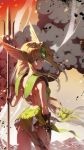 1girl armor backless_outfit bangs bare_shoulders blonde_hair blue_eyes breasts bridal_gauntlets chkuyomi dress eyebrows_visible_through_hair forehead_jewel gem green_dress helmet holding lips long_hair looking_away low-tied_long_hair medium_breasts outdoors polearm riesz seiken_densetsu seiken_densetsu_3 short_dress shoulder_armor smoke_trail solo spear trident very_long_hair weapon winged_helmet