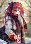 1girl bag bandaid_on_finger blush box coat day gift gift_box hair_ornament hair_ribbon heart-shaped_box jouizumi_masamune_(tenka_hyakken) long_hair official_art outdoors pisuke plaid plaid_scarf red_eyes redhead ribbon scarf school_bag snow solo tenka_hyakken twintails two_side_up valentine