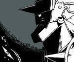 1boy alphonse_elric armor black_background eyes fullmetal_alchemist grey_background greyscale grin helmet looking_away male_focus monochrome pride shaded_face simple_background smile translation_request
