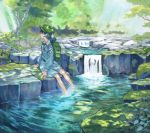 1girl backpack bag bare_legs blue_dress blue_eyes blue_hair blush closed_mouth dappled_sunlight day dress forest green_hat hair_bobbles hair_ornament hat kawashiro_nitori key long_hair long_sleeves looking_to_the_side marker_(medium) moss nature outdoors profile puffy_long_sleeves puffy_sleeves river rock shiratama_(hockey) smile soaking_feet solo sunlight touhou traditional_media tree twintails water waterfall