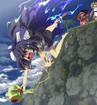 3girls ahoge aura bangle bare_legs barefoot black_hat blonde_hair blue_bow blue_eyes blue_hair blue_skirt blue_sky bow bowl bowl_hat bracelet brown_eyes cliff clouds commentary_request day debt dress eyewear_on_head falling hair_bow hair_ribbon hat highres holding hood hood_down hoodie japanese_clothes jewelry kimono long_hair miniskirt miracle_mallet multiple_girls necklace obi open_mouth outdoors palm_tree purple_hair red_eyes red_kimono red_ribbon ribbon rock sash shope skirt sky sukuna_shinmyoumaru sunglasses sweatdrop teardrop tears top_hat touhou tree very_long_hair white_dress wide_sleeves yorigami_jo'on yorigami_shion