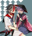 2boys bangle black_hair bowl bowl_hat bracelet collar commentary_request directional_arrow drooling eye_contact fuuga_(perv_rsity) genderswap genderswap_(ftm) hair_between_eyes hat highres japanese_clothes jewelry kijin_seija kimono kneeling leash looking_at_another multicolored_hair multiple_boys purple_hair red_eyes red_kimono redhead shirt short_hair shorts sitting smile streaked_hair sukuna_shinmyoumaru touhou two-tone_background violet_eyes white_background white_hair white_shirt white_shorts