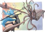 1girl afloat attack bangs blue_eyes blue_hair bodysuit commentary_request diving_mask diving_suit doitsuken flippers floating_hair from_behind giant_squid hair_bubbles harpoon highres holding holding_weapon long_hair looking_at_viewer original ponytail snorkel torn_clothes underwater weapon wide-eyed
